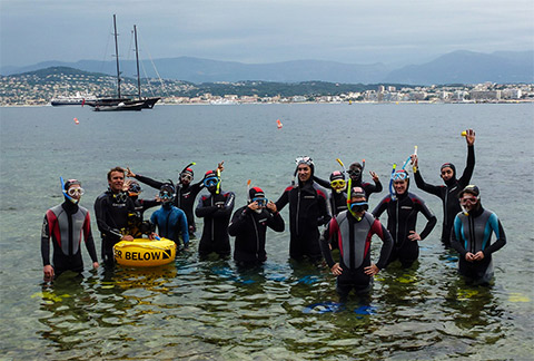 guided snorkeling children group antibes